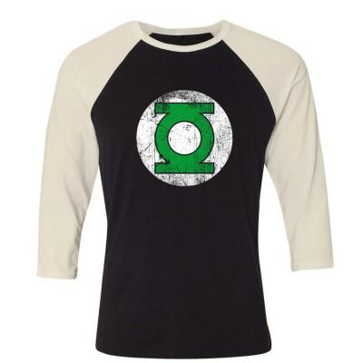 DC Comics Baseball T-Shirt (Raglan) : Green Lantern Logo (schwarz/weiß)