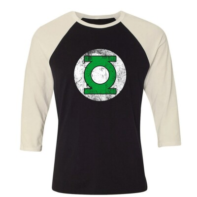 DC Comics Baseball T-Shirt (Raglan) : Green Lantern Logo (schwarz/weiß) L