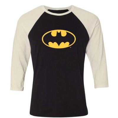Batman Baseball T-Shirt (Raglan) : Batman Logo (schwarz/weiß)