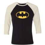 Batman Baseball T-Shirt (Raglan) : Batman Logo (schwarz/weiß) S