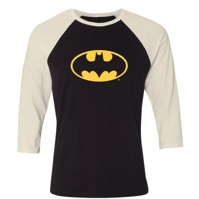 Batman Baseball T-Shirt (Raglan) : Batman Logo (schwarz/weiß) M