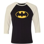 Batman Baseball T-Shirt (Raglan) : Batman Logo (schwarz/weiß) XL