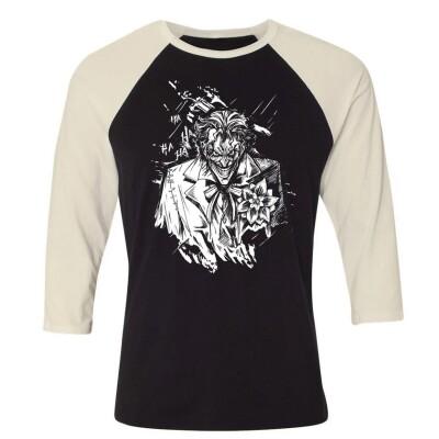 Batman Baseball T-Shirt (Raglan) : Joker angry portrait (schwarz/weiß)