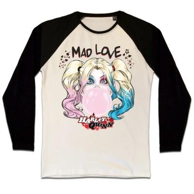 Batman Baseball T-Shirt (Raglan) : Harley Bubble Gum (schwarz/weiß) S