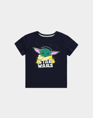 Star Wars The Mandalorian Jugend Youth T-Shirt Stronger Baby Yoda (schwarz) 98/104