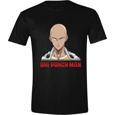 One Punch Man T-Shirt - Saitama Face (schwarz) Größe S