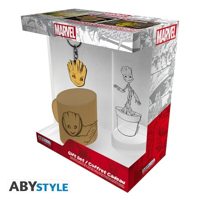 Marvel Comics Geschenkbox: Groot (Keramiktasse, Trinkglas, Schlüsselanhänger)