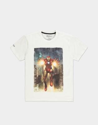 Avengers T-Shirt - Iron Man Blast (weiss) XXL
