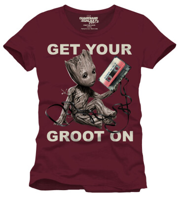 Guardians of Galaxy 2 T-Shirt - Get Your Groot On (burgunder) S
