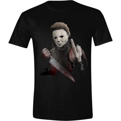 Halloween T-Shirt - Michael Myers Middle Finger (schwarz) XXL