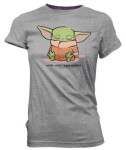 Star Wars Damen T-Shirt - The Mandalorian Cute Child Sleeping (grau) L
