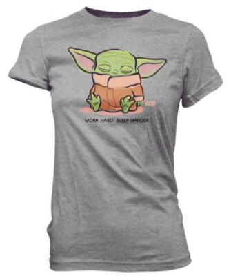 Star Wars Damen T-Shirt - The Mandalorian Cute Child Sleeping (grau) XL