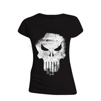 Punisher Damen T-Shirt (Girlie): Punisher Skull (schwarz) Größe L