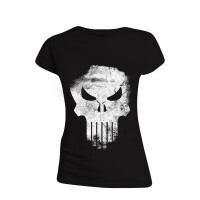 Punisher Damen T-Shirt (Girlie): Punisher Skull (schwarz)...