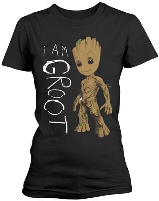 Guardians of Galaxy 2 Damen T-Shirt - I am Groot Scribbles (schwarz) M